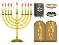 Les symboles traditionnels d'église de judaïsme ont isolé l'illustration hébreue de vecteur de juif de pâque religieuse de synago illustration de vecteur