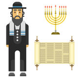 Les symboles traditionnels d'église de judaïsme ont isolé le vecteur hébreu de juif de caractère de pâque religieuse de synagogue illustration stock