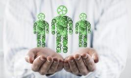 Les symboles verts des membres de la famille en tant qu'un mécanisme ont présenté dans le mA Image libre de droits
