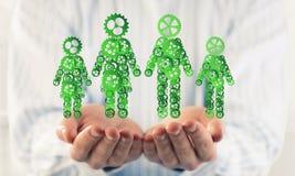 Les symboles verts des membres de la famille en tant qu'un mécanisme ont présenté dans le mA Photos stock