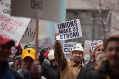 Les syndicats nous effectuent le rassemblement intense Photographie stock