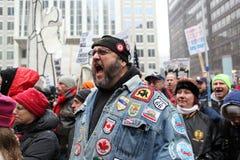 Les syndicats nous effectuent le rassemblement intense Photos libres de droits