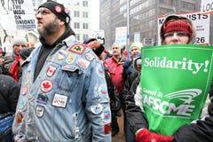 Les syndicats nous effectuent le rassemblement intense Photos stock