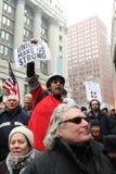 Les syndicats nous effectuent le rassemblement intense Image stock