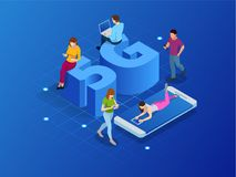 Les systèmes sans fil et l'Internet de réseau 5G isométriques dirigent l'illustration Le réseau de transmission, concept d'affair illustration stock