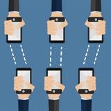 Les téléphones transmettent l'information Images libres de droits