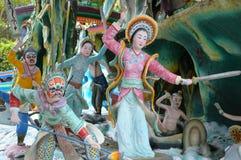 Les tableaux de guerriers à la baie d'aubépine Par la villa à Singapour images libres de droits