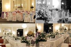 Les tables de salle de bal de mariage, multicam, la grille 2x2, écran se sont dédoublées dans quatre parts Photos libres de droits