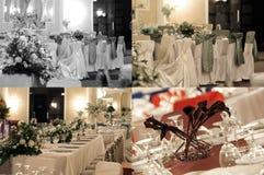 Les tables de salle de bal de mariage, multicam, la grille 2x2, écran se sont dédoublées dans quatre parts Photographie stock