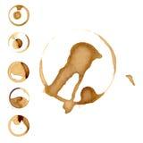 Les taches de staiin de vin et de café éclabousse l'illustration de vecteur d'éclaboussure d'isolement par vecteur de tasse illustration stock