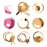 Les taches de staiin de vin et de café éclabousse l'illustration de vecteur d'éclaboussure d'isolement par vecteur de tasse illustration de vecteur