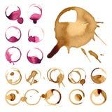 Les taches de staiin de vin et de café éclabousse l'illustration de vecteur d'éclaboussure de vecteur de tasse illustration libre de droits