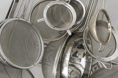 Les tamis de cuisine se ferment vers le haut Photo libre de droits