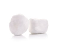 Les tampons de coton ont isolé le fond blanc Image stock