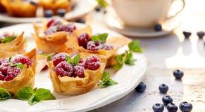 Les tasses de Filo avec le remplissage de Mascarpone ont complété avec des framboises d'un plat blanc, dessert délicieux photographie stock libre de droits