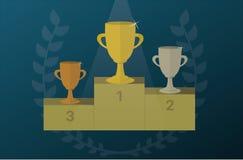 Les tasses de trophée sur un piédestal avec le laurier tressent Vecteur d'icône de récompense Images libres de droits