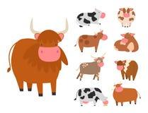 Les taureaux effraye l'agriculture sauvage de boeuf de nature mammifère de bétail d'illustration de vecteur de caractère d'animal illustration stock