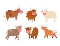 Les taureaux effraye l'agriculture sauvage de boeuf de nature mammifère de bétail d'illustration de vecteur de caractère d'animal illustration de vecteur