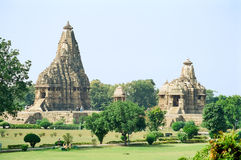 Temples érotiques de l'Inde dans Khajuraho Images stock