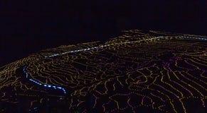 Les terrasses de riz chez Sanmaida, Japon, illuminé la nuit images stock