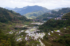 Terrasses de riz de Banaue et village, Ifugao, Philippines Photographie stock