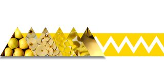 Les textures d'Apple à l'intérieur des triangles bondissent par le ruban jaune images stock