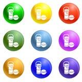 Les thermos boivent le vecteur d'ensemble d'icônes de déjeuner d'hamburger illustration de vecteur