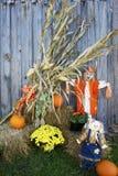 Les tiges et les épouvantails de maïs décorent le côté d'une grange de pays Photo stock