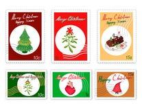 Les timbres de courrier ont placé de joyeux articles de Noël illustration libre de droits