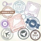 Les timbres de voyage ont placé Barcelone, la Catalogne et l'Espagne Photographie stock