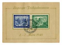 Les timbres historiques allemands couvrent : foire commerciale de Leipzig de ressort avec l'annulation sp?ciale, le 7 mars 1948,  photos stock