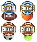 Les étiquettes du sport d'université Photo stock