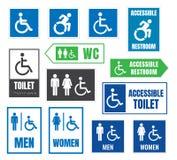 Les toilettes signent pour des handicapés, icônes accessibles d'handicap Photographie stock libre de droits