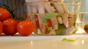 Les tomates à cuire saines de lavage d'hygiène alimentaire roulent clips vidéos