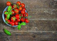 Les tomates-cerises fraîches dans un métal roulent sur une obscurité Images libres de droits