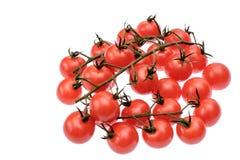 Les tomates-cerises se trouvent sur un panneau en bois d'huile de séchage, d'isolement sur le fond blanc Photo libre de droits
