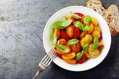 Les tomates fraîches avec le basilic part dans une cuvette Image stock