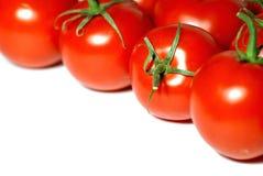 Les tomates fraîches encadrent le fond Images libres de droits
