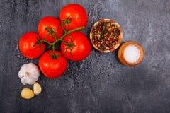 Les tomates lumineuses mûres et appétissantes avec des grains de poivre, l'ail et le sel sur un fond noir, là est pièce pour le t photographie stock