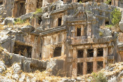 Les tombes de roche de Myra Photographie stock