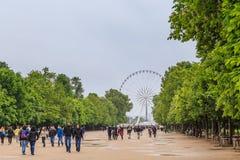 Les touristes marchent près du musée de Louvre sur le parc de Tuileries Photo stock
