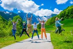Les touristes sautent joyeux dans la perspective des montagnes couronnées de neige Photographie stock