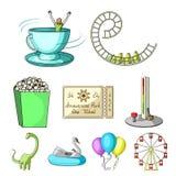 Les tours de parc d'attractions Les attributs d'un parc récréationnel, pièce de panique, sucrerie de coton Icône de parc d'attrac illustration de vecteur