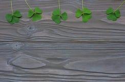 Les trèfles de plan rapproché part sur la vue supérieure de fond en bois foncé avec l'espace de copie Images stock
