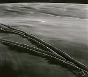 les traces d'un ` inconnu s d'homme skient dans les Alpes Photo stock