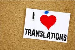 Les traductions d'amour de l'apparence I d'inspiration de légende des textes d'écriture de main que la signification de concept t Image libre de droits
