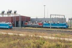 Les trains de locomotives se tiennent à la porte du dépôt locomotif Photographie stock libre de droits