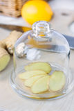 Les tranches de gingembre s'enracinent couvert par la couverture en verre photo stock