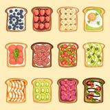 Les tranches de pain et de beurre de sandwich grillent avec l'illustration de vecteur de style de bande dessinée de jamflat de be Photographie stock
