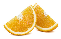 Les tranches quartes oranges se perfectionnent d'isolement sur le fond blanc Photos libres de droits